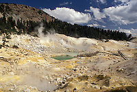 AJ3752, Lassen Volcanic National Park, Lassen, California, Cascade Mountains, Cascade Range, Bumpass Hell is a large area of spectacular boiling springs, mudpots, and boiling pools in Lassen Volcanic Nat'l Park in the state of California.