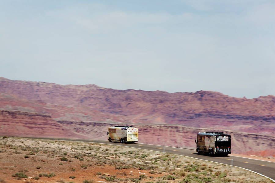 Highway 89 near Bitter Springs, Arizona, March 29, 2010 - The Tea Party Express buses pass through parts of the Navajo Reservation en route to a rally in St. George, Utah during its 43-city tour across the country. .