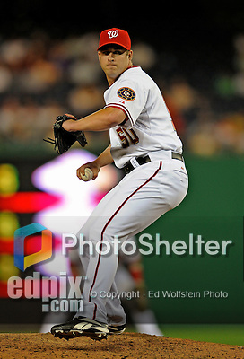16 August 2008: Washington Nationals' pitcher Garrett Mock on the mound in relief against the Colorado Rockies at Nationals Park in Washington, DC.  The Rockies defeated the Nationals 13-6, handing the last place Nationals their 9th consecutive loss. ..Mandatory Photo Credit: Ed Wolfstein Photo