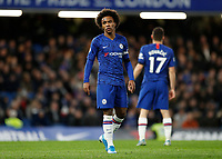 30th November 2019; Stamford Bridge, London, England; English Premier League Football, Chelsea versus West Ham United; Willian of Chelsea looks dejected as time runs out - Strictly Editorial Use Only. No use with unauthorized audio, video, data, fixture lists, club/league logos or 'live' services. Online in-match use limited to 120 images, no video emulation. No use in betting, games or single club/league/player publications