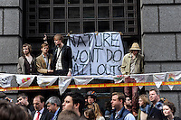 MPs Simon Hughes (bottom Left, red tie) and David Howarth (bottom left, blue shirt and tie), who were self-appointed monitors of the policing of the protest, mix with Climate Camp demonstrators as thousands of protestors descended on the City of London ahead of the G20 summit of world leaders to express anger at the economic crisis, which many blame on the excesses of capitalism.
