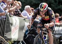 Belgian National Champion Yves Lampaert (BEL/Quick Step Floors) biting the pain on the Kapelmuur. <br /> <br /> <br /> Binckbank Tour 2018 (UCI World Tour)<br /> Stage 7: Lac de l'eau d'heure (BE) - Geraardsbergen (BE) 212.7km