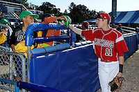 Batavia Muckdogs outfielder Ryan Aper #11 talks to young fans before a game against the Auburn Doubledays on June 18, 2013 at Dwyer Stadium in Batavia, New York.  Batavia defeated Auburn 10-2.  (Mike Janes/Four Seam Images)