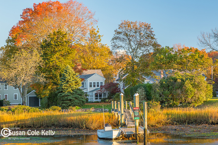 An autumn sunrise in Wickford, Rhode Island, USA