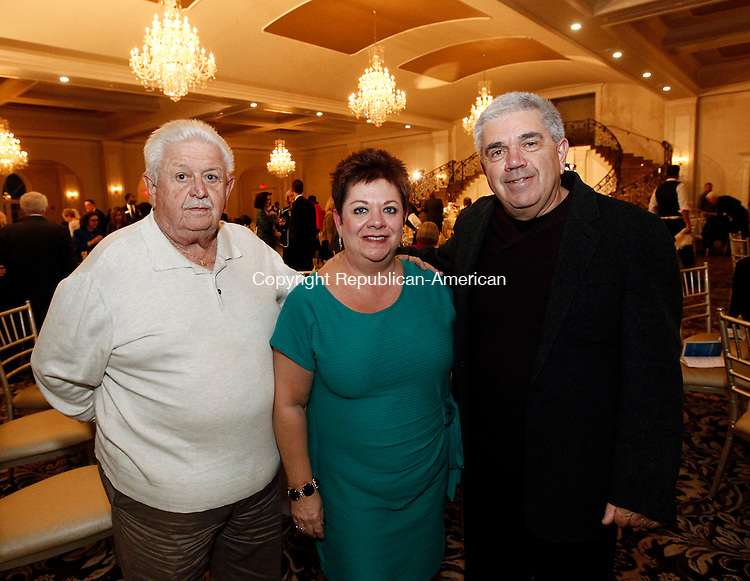 Prospect, CT- 30 October 2014-103014CM16-  SOCIAL MOMENTS--- Left to right Donald Stack, from Waterbury and Donna and Peter Caiazzo  from Middlebury, photographed during the Waterbury Neighborhood Council Awards Dinner at Aria Banquet Hall in Prospect on Thursday. Christopher Massa Republican-American