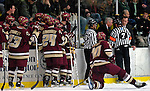 "19 January 2007: Boston College head coach Jerry York discusses a disallowed goal with officials during a Hockey East matchup against the University of Vermont at Gutterson Fieldhouse in Burlington, Vermont. The UVM Catamounts defeated the BC Eagles 3-2 before a record setting 50th consecutive sellout at ""the Gut""...Mandatory Photo Credit: Ed Wolfstein Photo."