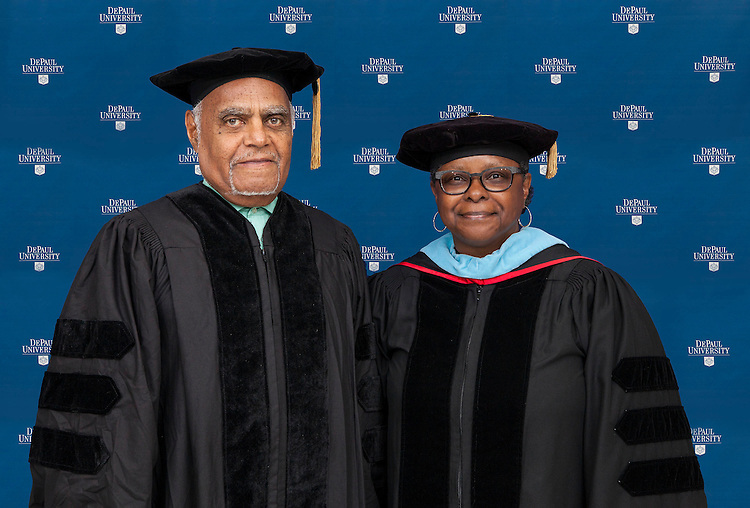 VIP Photos - 2014 DePaul University College of Education commencement ceremony, Saturday, June 14, 2014, Rosemont Theatre; Nell Cobb and Robert Moses, commencement speaker and honorary degree recipient. (DePaul University/Jeff Carrion)