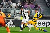 2nd February 2019, Allianz Stadium, Turin, Italy; Serie A football, Juventus versus Parma; Sami Khedira of Juventus has a shot at goal while Riccardo Gagliolo of Parma challenges
