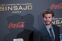 Australian actor Liam Hemsworth poses for the photographers during the photocall of `The Hunger Games: Mockingjay Part 2´ movie presentation in Madrid, Spain. November 10, 2015. (ALTERPHOTOS/Victor Blanco)