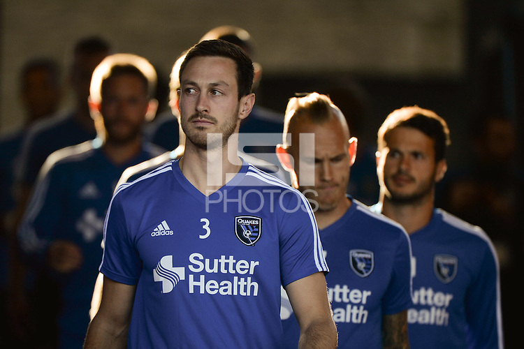 San Jose, CA - Wednesday June 13, 2018: Francois Affolter prior to a Major League Soccer (MLS) match between the San Jose Earthquakes and the New England Revolution at Avaya Stadium.