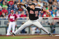 Oregon State pitcher Matt Boyd (31) delivers a pitch to the plate against the Indiana Hoosiers during Game 9 of the 2013 Men's College World Series  on June 19, 2013 at TD Ameritrade Park in Omaha, Nebraska. The Beavers defeated the Hoosiers 1-0, eliminating Indiana from the tournament. (Andrew Woolley/Four Seam Images)