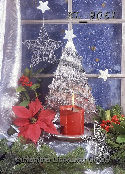 Interlitho-Helga, CHRISTMAS SYMBOLS, WEIHNACHTEN SYMBOLE, NAVIDAD SÍMBOLOS, photos+++++,window, silver tree,KL9061,#xx#