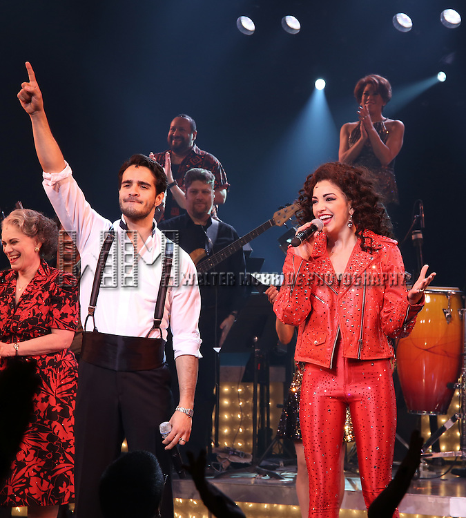 Ektor Rivera and Ana Villafañe with cast of the Broadway production of 'On Your Feet!' celebrate their 500th performance at Marquis Hotel  on January 18, 2017 in New York City.