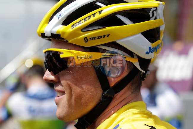Yellow Jersey holder Simon Gerrans (AUS) Orica GreenEdge at sign on before Stage 5 of the 100th Edition of the Tour de France 2013 from Cagnes-Sur-Mer to Marseille. 3rd July 2013.<br /> (Photo: Eoin Clarke/ www.newsfile.ie)