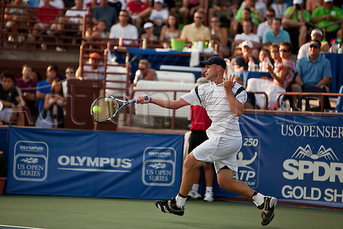 July 23, 2010:  ATP Atlanta Tennis Championship:  Andy Roddick returns a forehand during his quarterfinals match against Xavier Malisse at the Atlanta Athletic Club in Johns Creek, GA on July 23, 2010.
