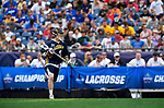FOXBORO, MA - MAY 28: John Bassett (4) of the Merrimack Warriors runs with the ball during the Division II Men's Lacrosse Championship held at Gillette Stadium on May 28, 2017 in Foxboro, Massachusetts. (Photo by Larry French/NCAA Photos via Getty Images)