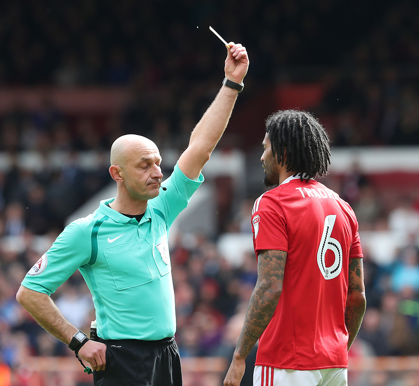 Nottingham Forest's Armand Traore is shown a yellow card<br /> <br /> Photographer Rachel Holborn/CameraSport<br /> <br /> The EFL Sky Bet Championship - Nottingham Forest v Blackburn Rovers - Friday 14th April 2016 - The City Ground - Nottingham<br /> <br /> World Copyright &copy; 2017 CameraSport. All rights reserved. 43 Linden Ave. Countesthorpe. Leicester. England. LE8 5PG - Tel: +44 (0) 116 277 4147 - admin@camerasport.com - www.camerasport.com
