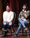 "Lauren Boyd and Sasha Hollinger during the ""Hamilton"" eduHAM Student Matinee Q & A  at the Richard Rodgers Theatre on February 13, 2019 in New York City."
