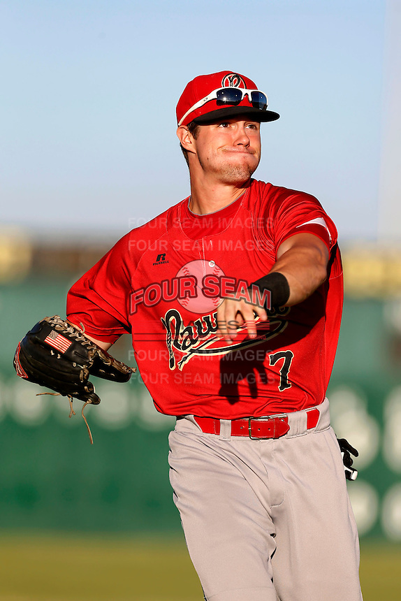 Evan Marzilli #7 of the Visalia Rawhide during a game against the Lancaster JetHawks at The Hanger on May 30, 2013 in Lancaster, California. Lancaster defeated Visalia, 15-2. (Larry Goren/Four Seam Images)