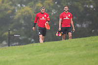 Gareth Bale and Hal Robson-Kanu arrive for the Wales open Training session ahead of the opening FIFA World Cup 2018 Qualification match against Moldova at The Vale Resort, Cardiff, Wales on 31 August 2016. Photo by Mark  Hawkins / PRiME Media Images.