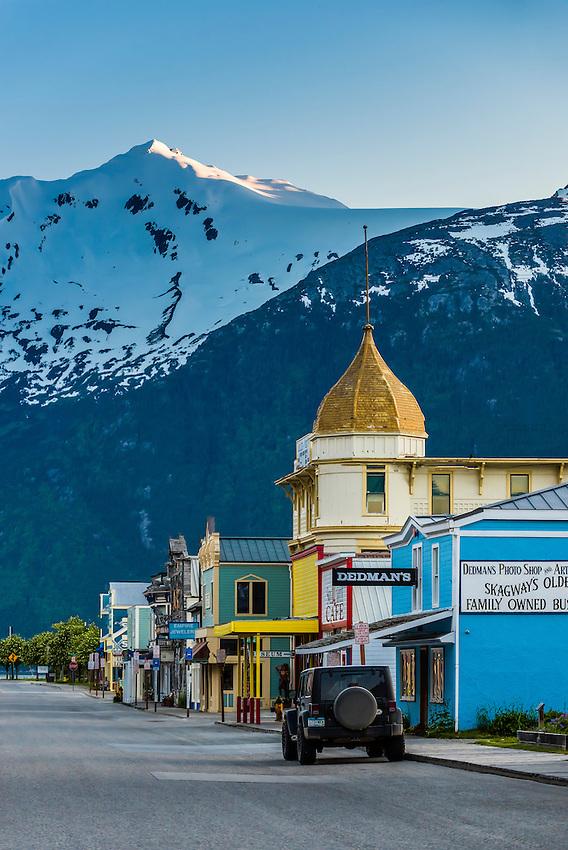Broadway (the historic center of the town is called Klondike Gold Rush National Historical Park), Skagway, Inside Passage, southeast Alaska USA.