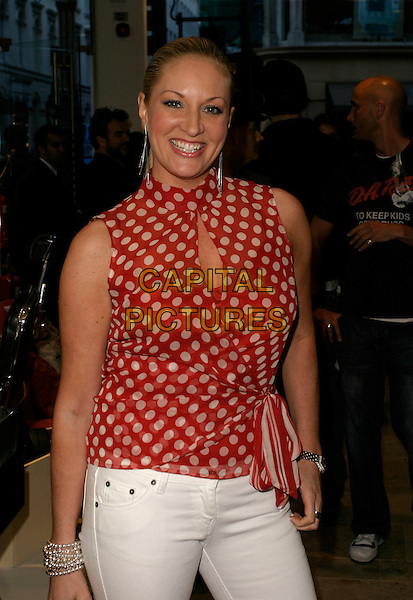 SARAH BOSNICH.Diesel - store launch party, Diesel, 130 New Bond Street, London, UK..May 18th, 2006.Ref: AH.half length red white polka dot top sleeveless.www.capitalpictures.com.sales@capitalpictures.com.© Capital Pictures.