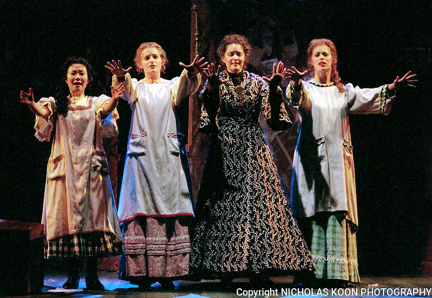 2001 - LITTLE WOMEN - Jo (Kirstin Chavez), second from the right relives the fond memory of her sisters Amy, Beth and Meg (Christina Suh, Natalie Taormina and Stephanie Woodling) after they are all gone in Opera Pacific's production of Little Women at the Irvine Barclay Theater.