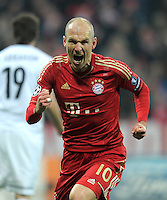 FUSSBALL   CHAMPIONS LEAGUE   SAISON 2011/2012   ACHTELFINALE RUECKSPIEL     13.03.2012 FC Bayern Muenchen - FC Basel        JUBEL nach dem Tor zum 1:0 Arjen Robben (FC Bayern Muenchen)