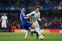 Adrien Rabiot of Paris Saint-Germain turns Cesar Azpilicueta of Chelsea during the UEFA Champions League Round of 16 2nd leg match between Chelsea and PSG at Stamford Bridge, London, England on 9 March 2016. Photo by Andy Rowland.