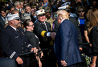 United States President Donald J. Trump greets first responders at a ceremony at the Pentagon during the 18th anniversary commemoration of the September 11 terrorist attacks, in Arlington, Virginia on Wednesday, September 11, 2019. <br /> Credit: Kevin Dietsch / Pool via CNP /MediaPunch