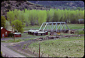 View of steel truss bridge over Gato Creek with San Juan River in background.<br /> D&amp;RGW  Gato (Pagosa Junction), CO