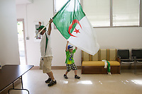 San Jose, CA - Monday, June 30, 2014: A group of around 30 Algerians watched the Algeria vs. Germany round of 16 match at the Arab Cultural Center.
