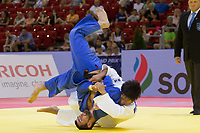 Alan Khubetsov (L) of Russia and Kenya Kohara (R) of Japan fight during the Men -81 kg category at the Judo Grand Prix Budapest 2018 international judo tournament held in Budapest, Hungary on Aug. 11, 2018. ATTILA VOLGYI