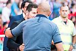 Atletico de Madrid's coach Diego Pablo Simeone and Sporting de Gijon's /Abelardo Fernández during a match of La Liga Santander at Vicente Calderon Stadium in Madrid. September 17, Spain. 2016. (ALTERPHOTOS/BorjaB.Hojas)