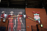 Sunday, 23 February 2014<br /> Pictured: Generic view of the Paisley Gateway and The Kop<br /> Re: Barclay's Premier League, Liverpool FC v Swansea City FC v at Anfield Stadium, Liverpool Merseyside, UK.