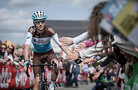 Romain Bardet (FRA/AG2R La Mondiale)  pre race reaching out for high fives. <br /> <br /> <br /> 83th Flèche Wallonne 2019 (1.UWT)<br /> 1 Day Race: Ans – Huy 195km<br /> <br /> ©kramon