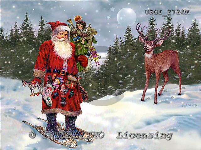 GIORDANO, CHRISTMAS SANTA, SNOWMAN, WEIHNACHTSMÄNNER, SCHNEEMÄNNER, PAPÁ NOEL, MUÑECOS DE NIEVE, nostalgic, paintings+++++,USGI2724M,#X# nostalgic,vintage