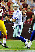 Dallas Cowboys quarterback Tony Romo (9) looks to pass in the second quarter against the Washington Redskins at FedEx Field in Landover, Maryland on Sunday, September 12, 2010. .Credit: Ron Sachs / CNP