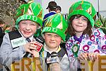 Budding commentators Jack Leader, Dylan Roche, Emer Cronin at the Killarney St Patricks parade on Thursday..