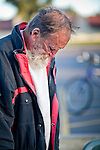 """Jan 10, 2010 - PHOENIX, AZ: A homeless person bows his head in prayer before breakfast at CrossRoads United Methodist Church in Phoenix, AZ. The church has been ordered by city zoning officials to stop serving breakfast to the homeless and indigent on Saturday mornings. The church started serving breakfast to the homeless in Jan. 2009 and shortly after that neighbors in the upscale area of Phoenix complained to city officials that the church was in violation of zoning ordinances. The city found the church was operating a """"charity kitchen"""" and ordered them to stop serving the breakfast. Rev. Dottie Escobedo-Frank, the pastor of the church, has said the church will file an appeal in US District Court and continue serving the breakfast until the appeals process is exhausted. About 150 people attend the Saturday breakfast each week. Some walk to the church from the alleys they live in in the neighborhood, others are bused to the breakfast by the church, which sens a bus in 1.5 mile radius from the church.         Photo by Jack Kurtz"""