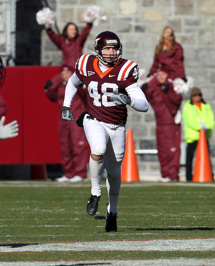 Nov 27, 2010; Charlottesville, VA, USA;  Virginia Tech Hokies kicker Justin Myer (48) during the game at Lane Stadium. Virginia Tech won 37-7. Mandatory Credit: Andrew Shurtleff-