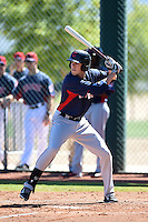 Cleveland Indians outfielder Bradley Zimmer (28) during an Instructional League game against the Seattle Mariners on October 1, 2014 at Goodyear Training Complex in Goodyear, Arizona.  (Mike Janes/Four Seam Images)