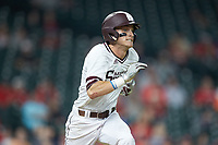 Jake Mangum (15) of the Mississippi State Bulldogs hustles down the first base line against the Houston Cougars in game six of the 2018 Shriners Hospitals for Children College Classic at Minute Maid Park on March 3, 2018 in Houston, Texas. The Bulldogs defeated the Cougars 3-2 in 12 innings. (Brian Westerholt/Four Seam Images)
