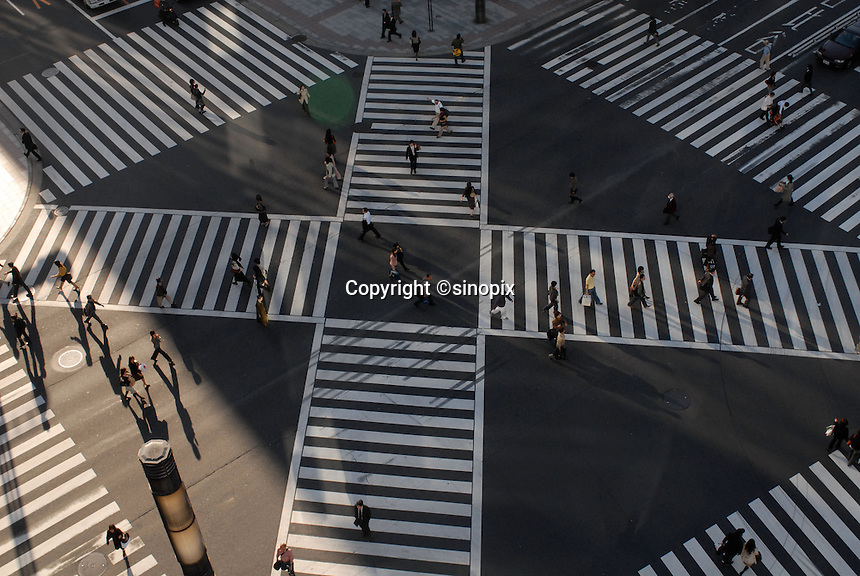 A busy zebra crossing in ginza Tokyo, Japan.