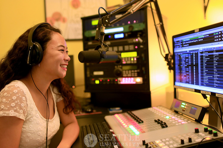 February 12th, 2016-  Seattle University's new KXSU 102.1 FM radio station.<br /> <br /> Conner Chung, a Seattle University sophomore  from Honolulu, Hawaii, at the new KXSU 102.1 FM radio station offices in Campion.