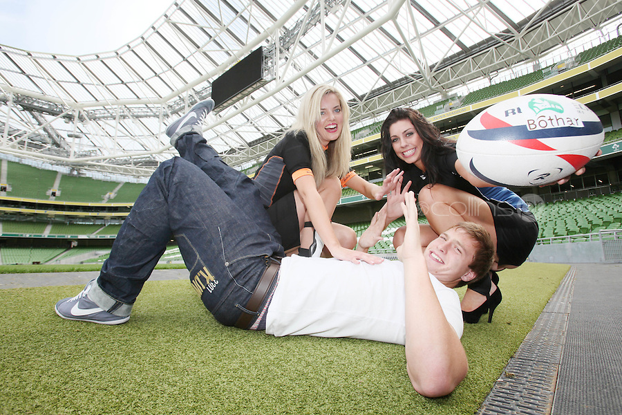 NO REPRO FEE. 8/9/2010. Bóthar launching Rugby Rocks Fashion. Leinster Rugby player Brendan Macken, Ms Limerick, Valerie Somers and Ms Clare, Alice Carroll are pictured at the the Aviva Stadium, Lansdowne Road, Dublin to launch Bóthar's Rugby Rocks Fashion.This is the first fashion event to take place at the newly developed stadium. Tickets are EUR60 and discounts are available with multiple purchases. Log onto www.bothar.ie for further information or call 1850 82 99 99.. Picture James Horan/Collins