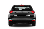 Straight rear view of 2016 Ford Focus 5-Door-Hatch-Electric 5 Door Hatchback Rear View  stock images