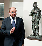 Brussels - Belgium, April 25, 2012; .MEP Martin SCHULZ, interviewed as President of the European Parliament; portrait, next to 'Willy Brandt';     <br /> Photo: © HorstWagner.eu  <br /> foto@horstwagner.eu  <br /> www.horstwagner.eu  <br /> +32 486 966 116  <br /> +49 179 590 3216