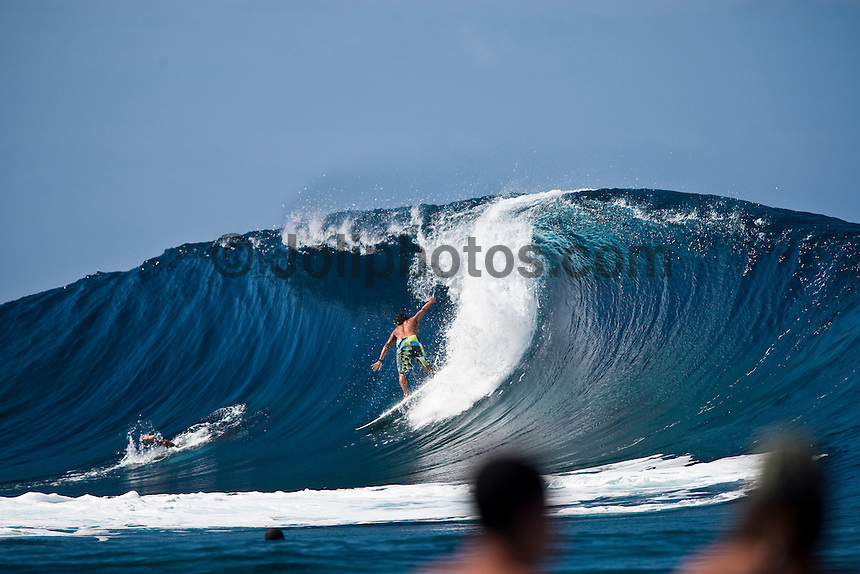 DEAN MORRISON (AUS)  surfing a reef pass near Teahupoo, Tahiti, (Friday May 15 2009.) Photo: joliphotos.com