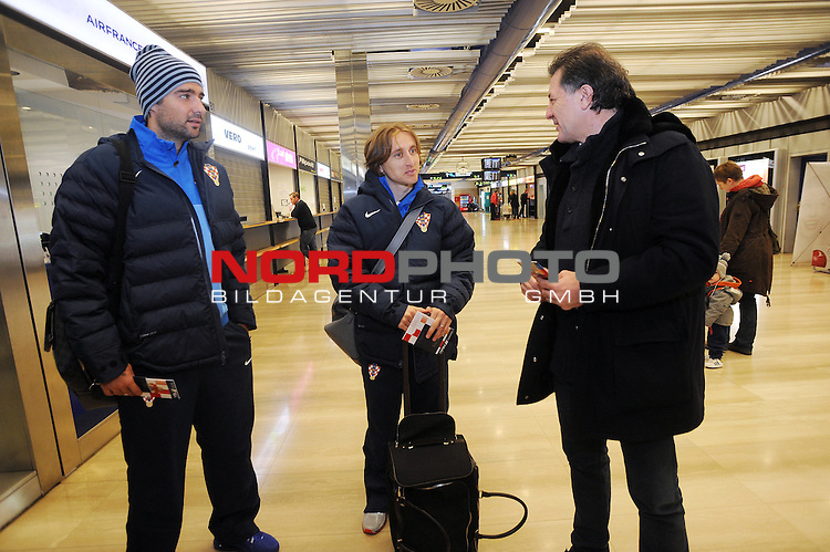 25.03.2013., Zagreb,Croatia  - Departure of Croatian national football team for qualifying match with  Wales.  .  Vedran Corluka, Luka Modric, Zdravko Mamic. <br /> <br /> Foto &not;&copy;  nph / PIXSELL / Daniel Kasap